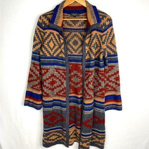 Spense Knits Cozy Patterned Long Cardigan Small